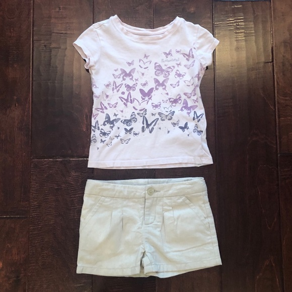 Gold shimmer short and butterfly tee